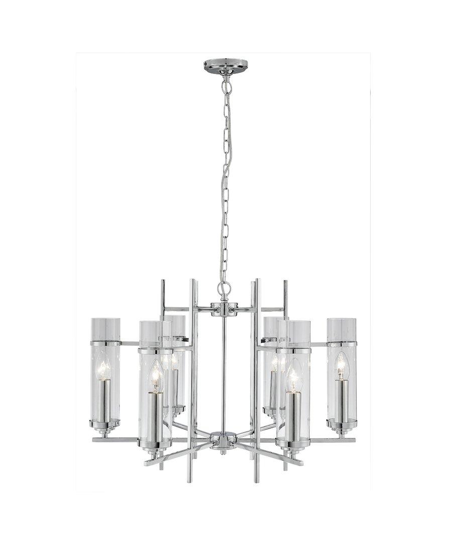 Kronleuchter Glas auffälliger 6 flammiger design kronleuchter in chrom glas 360 0