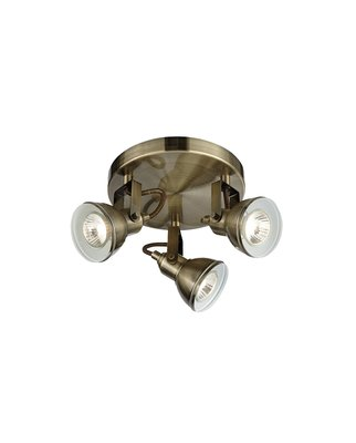 Design LED 3-fl. Spotleuchte Antik Messing Deckenlampe, 3...