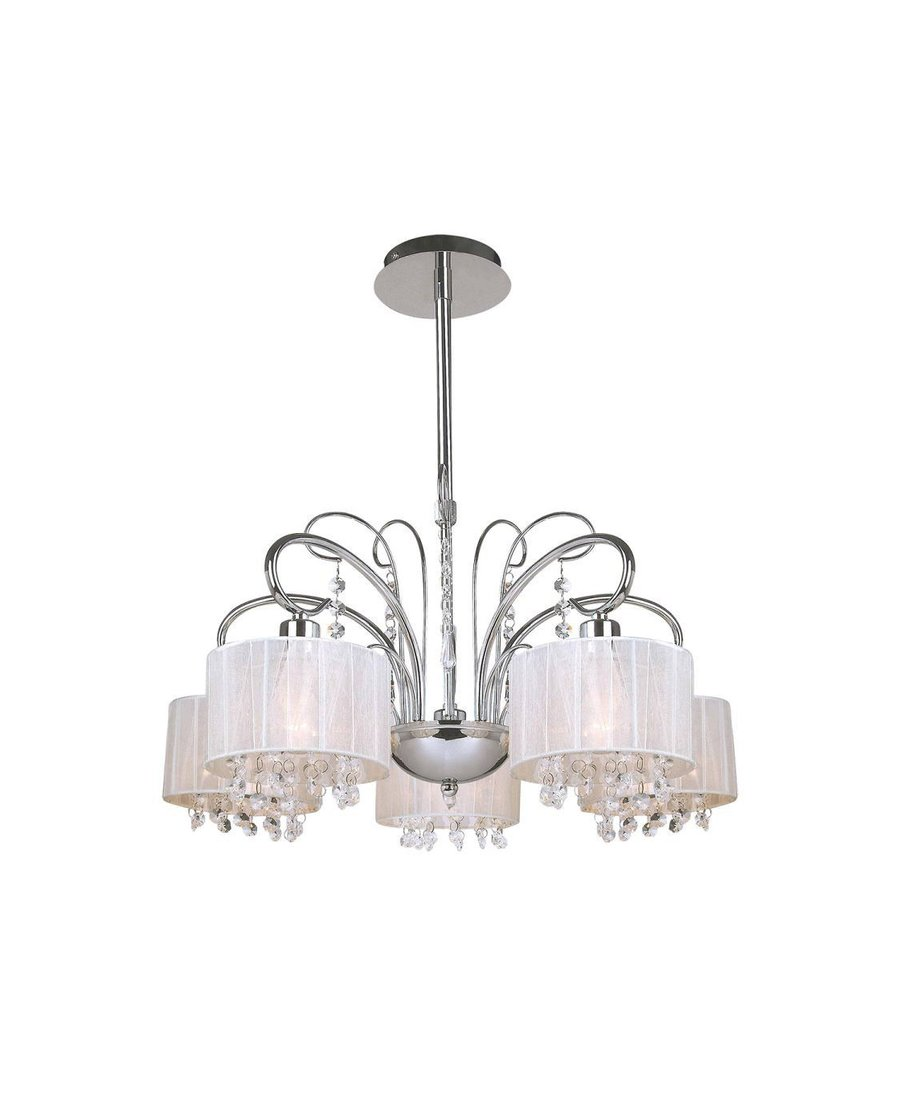 5 Fl. Moderner Kronleuchter, Moderne Lampen, Schwarz / Chrom